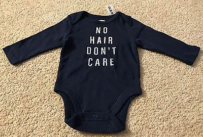 Baby Boy's Old Navy No Hair Don't Care L/s Bodysuit-3-6 Mos.-Nwt!