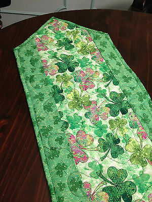 Handcrafted-Quilted Table Runner-St. Patrick's Day - Shamrocks - Green & Multi