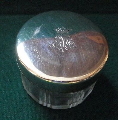 Antique French Silver Glass Make Up Jar by Leroy Paris Danish Countess Moltke