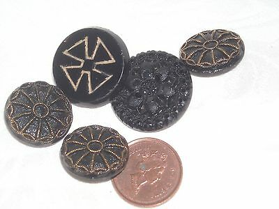 N69 Lot of Old black carved glass button Cross