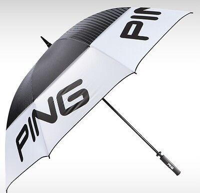 """Ping Tour 68"""" Double Canopy Umbrella Black White NWT New With Tags"""
