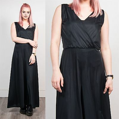 Womens Vintage Black Cross Front Jumpsuit Romper Going Out Glam 70's Style 10