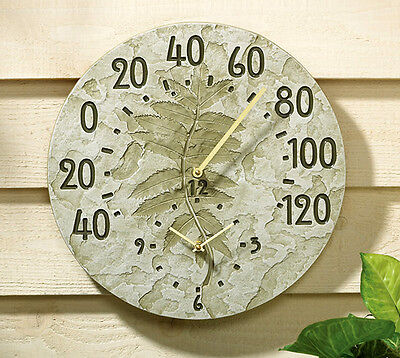 Whitehall Fossil Sumac Clock-Thermometer Indoor-Outdoor: 2 Color Choices!