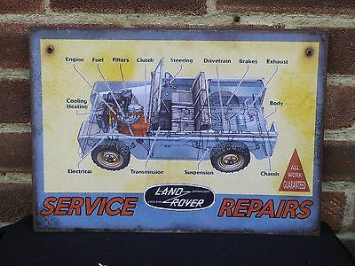 Vintage Rare Enamel Style Land Rover Service Repairs Advertising Sign