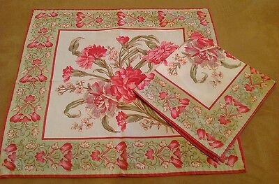 Two Dinner Napkins, Cotton, Pink, Green, White Flowers And Leaves, Carnations