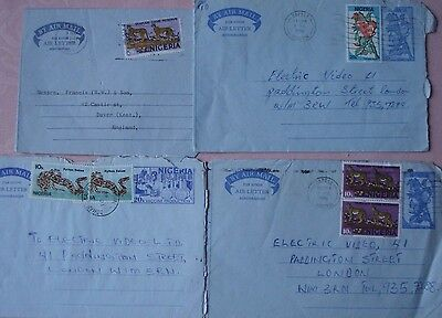 4 x Nigeria air letters to UK with different stamps (1977- 86)