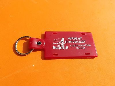 Vintage Wright CHEVROLET Dealership License Plate Key Chain/Tag Free Ship