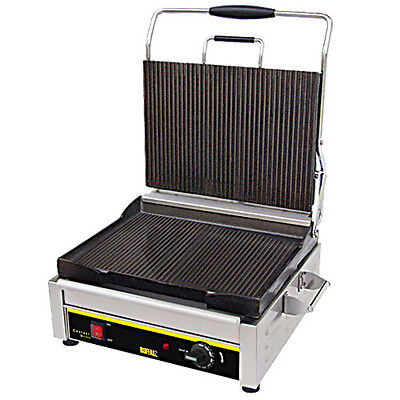 "Buffalo Ge043 Panini Grill With Ribbed Plates 14.5"" X 11"""