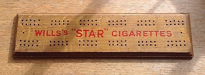 """Old c1950 Will's """"STAR"""" Cigarettes wooden cribbage board"""