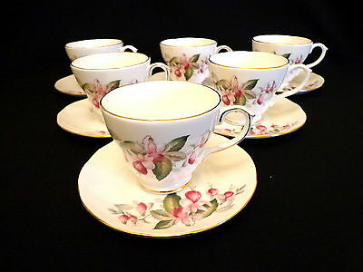Set of Six Duchess Fuchsia Teacups and Saucers   Exc. Cond.