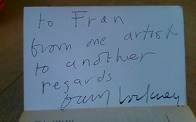 """David Hockney autograph/signature. """"from one artist to another"""".in back of book."""