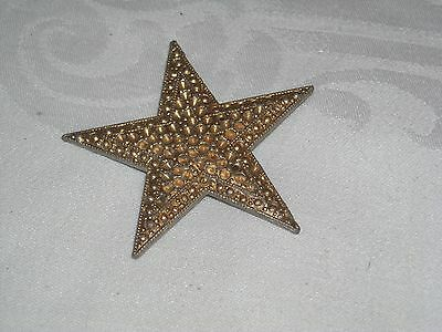 N91 Vintage Five Pointed Star button gold metal Stamped HAH or MAM?