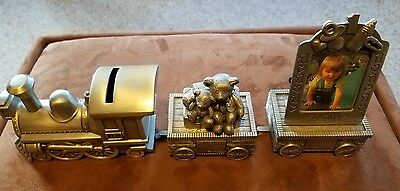 Set of Train Bank Personalized Pewter Baby my first tooth & curly and i'm one