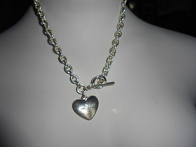 "Signed Mikey Necklace 15"" Length With Heart Pendant And Letter S"