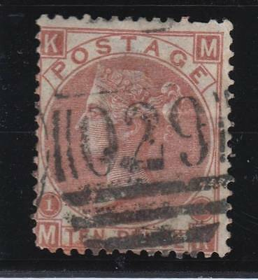 1867 10d. red-brown SG 112 plate 1 (MK) - fine used. Cat. £350.