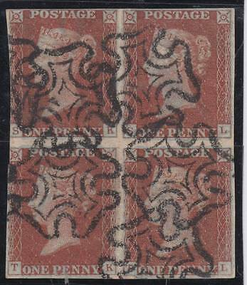 1841 1d. red-brown BLOCK of FOUR (SK - TL) - fine used. Cat. £850.