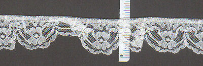 """1"""" wide Gathered white lace trim  25 yds    (XD607)"""