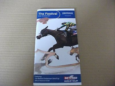 Cheltenham Race Card - Friday, March 15Th, 2013 - The Gold Cup & Bobs Worth