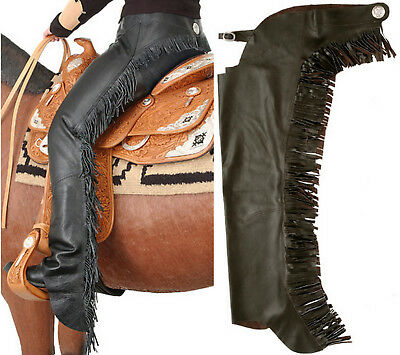 Western Horse Black Smooth Leather Show Chaps Large W/ Fringe Motorcycle Chaps