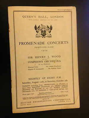 THE 35th SEASON HENRY WOOD PROMENADE CONCERTS 1929 QUEEN'S HALL