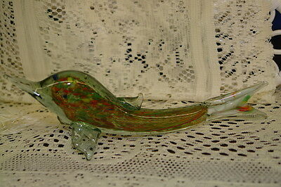 Vintage Art Glass Hand Blown End of Day Glass Dolphin