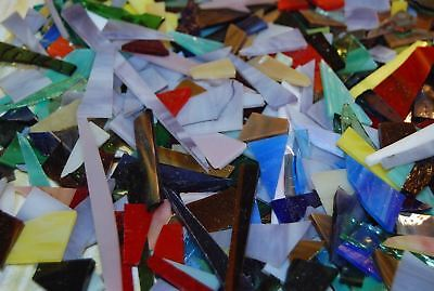 2 lbs Bits and Pieces Stained Glass Scrap Mosaic Tiles Tile