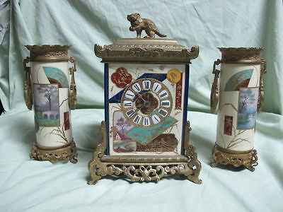 ANTIQUE Brass and Scenic Porcelain Clock with 2 matching Vases