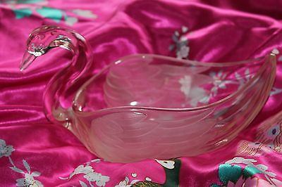 Art Deco Pink Part Frosted Glass SWAN dish bowl vase Wedding Xmas table ware