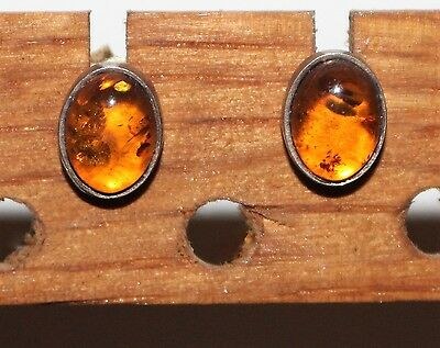 925 Silver & Amber Stud Earrings - Oval/Cabochon