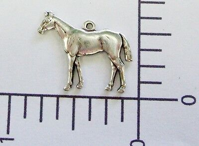 40094        2 Pc  Matte Silver Oxidized Horse Charm Brass Jewelry Finding