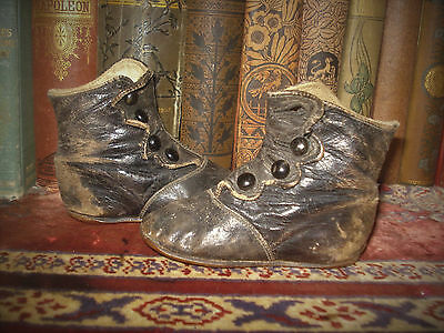 Antique Baby / Children's Shoes Boots Leather High Top Button-Up Black ADORABLE