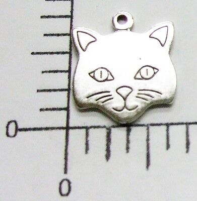 41164        2 Pc. Matte Silver Oxidized Cat Head Charm Jewelry Finding