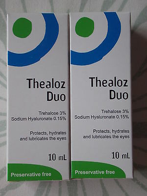 THEALOZ DUO - Preservative Free Eye Lubricant Drops - x 2 - NEW