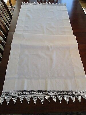 Ivory Linen Layover Sham w/Diamond Point Hand Crochet, Vintage Outstanding
