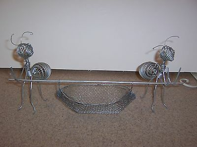 Novelty Piece Metal Ants Holding Basket Quirky Insect Decor