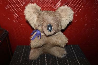 "Vintage 16"" Hard Body Koala Bear Australia Kangaroo Fur Collectible Toy"