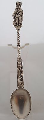 Antique Dutch Solid Silver Figural,  A Woman With Cross, Saint, Baptism Spoon.
