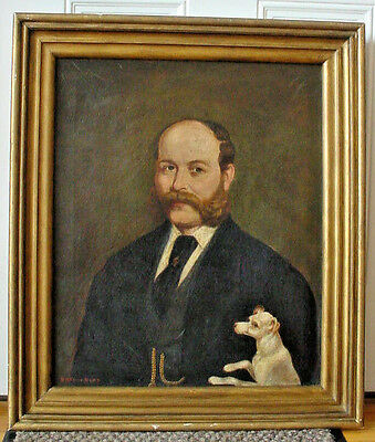 Great Antique 19th Century Oil Painting Man and his Little Dog signed M H Frost