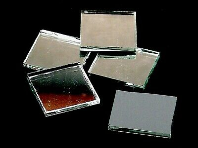 """100 Thin Silver Mirror 1/2"""" Square Hand Cut Stained Glass Mosaic Tile Shapes"""