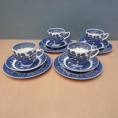 4 Vintage Swinnertons Staffordshire - Old Willow Pattern Trios
