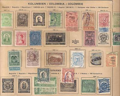 597 COLOMBIA selection of stamps on various album leaves