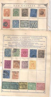 600 COLOMBIA  selection of stamps on various album leaves