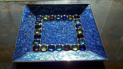 Blue Art Glass Tray Platter with Brass Backing Aqua Chartreuse Purple Accents