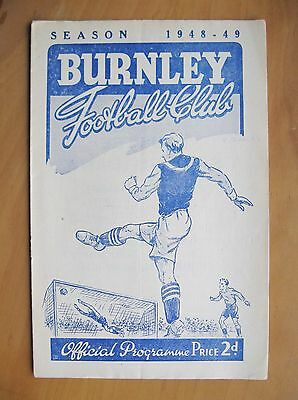 BURNLEY v CHARLTON ATHLETIC FA Cup 1948/1949 *VG Condition Football Programme*