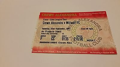 TICKET 2007/08 Crewe Alex v Millwall