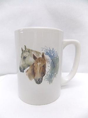 Horses Two Tan & White Porcelain Coffee/Tea Cup 4 In Tall Fired Decal Front/Back
