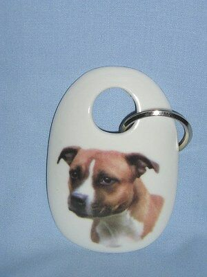 Satffordshire Bull Terrier Dog Porcelain Key Chain 2 3/4 in long Fired Decal