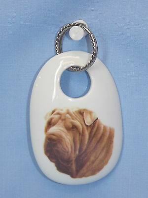 Shar Pei Dog Porcelain Key Chain Fired Decal Handmade 2 3/4 In