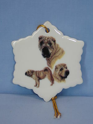 Shar Pei Dog Porcelain Snowflake Christmas Tree Ornament 53-3