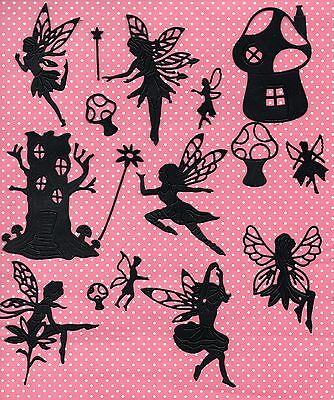 Fairy Silhouette  Die Cut S- Black Fairy House Toadstool Topper
